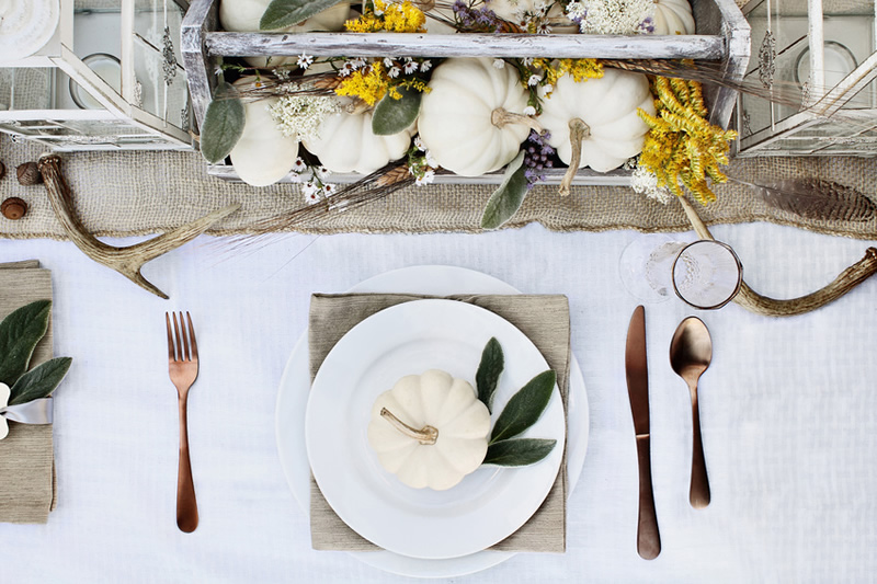 How to Decorate Your Home With White Pumpkins - Centerpieces